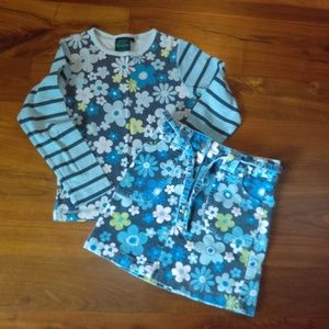 Mini Boden floral/striped skirt and shirt